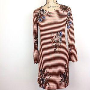 Bell Sleeve Striped Sweater Dress S
